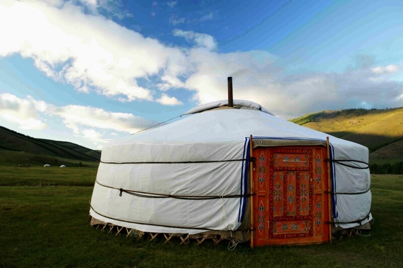 Mongolian ger in steppe