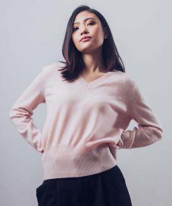 Mongolian Cashmere V-Neck Sweater